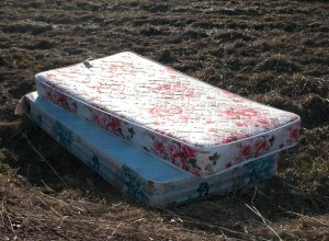 mattress dumped garbage